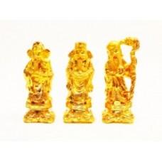 Χρυσοί Fu Lu Shou για Καλή Τύχη Ευημερία και Μακροζωία